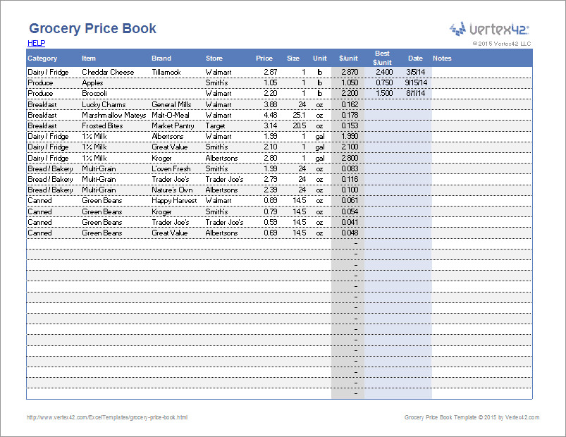 Price Comparison Excel Template Grocery Price Book Template