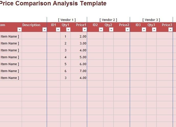Price Comparison Excel Template Price Parison Sheet