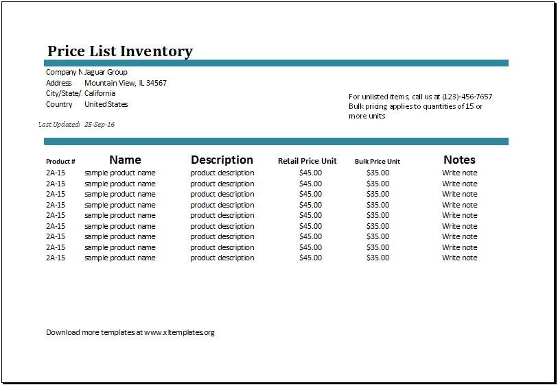 Price List Template Excel Ms Excel Price List Inventory Template
