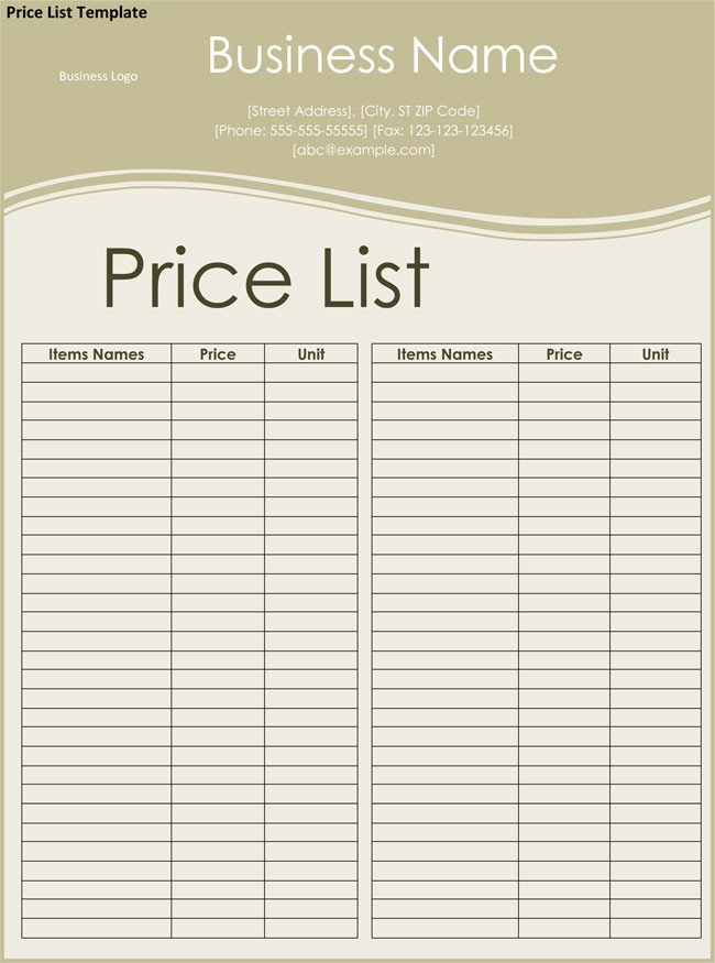 Price List Template Excel Price List Templates Free Samples and formats for Excel
