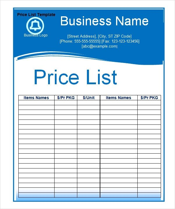 Price List Template Excel Sample Price List Template 5 Documents Download In Pdf