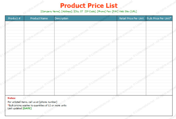 Price List Template Excel soft Templates