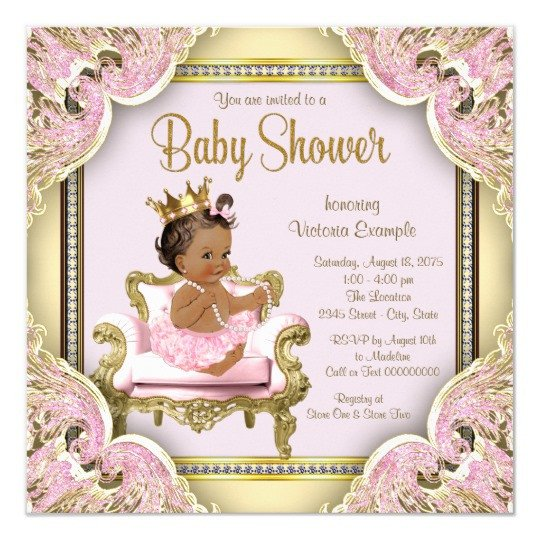 Princess Baby Shower Invitations Templates African American Princess Baby Shower Invitation