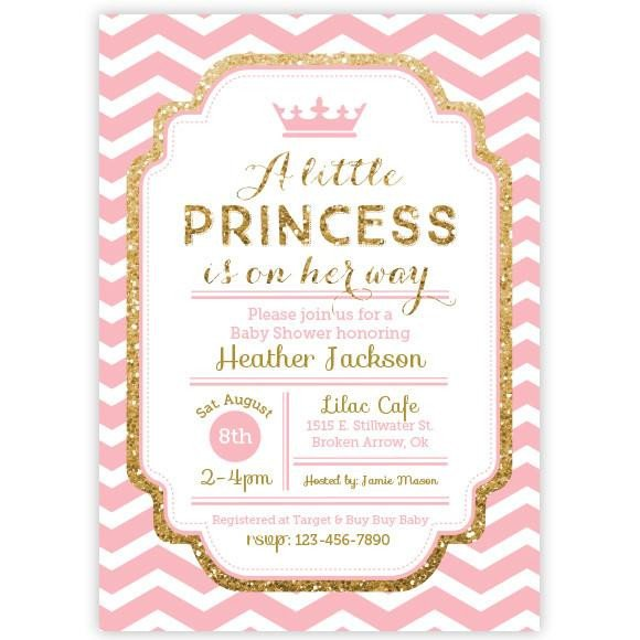 Princess Baby Shower Invitations Templates Chevron Princess Baby Shower Invitation Pink and Gold