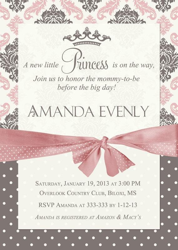 Princess Baby Shower Invitations Templates Damask Princess Baby Shower Invitation by Partypopinvites