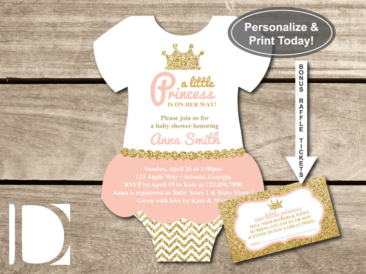 Princess Baby Shower Invitations Templates Little Princess Baby Shower Invitation Esie by
