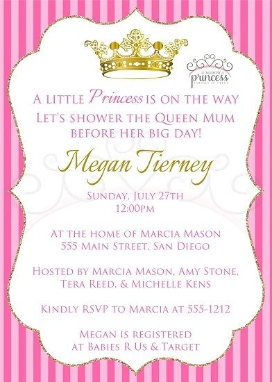 Princess Baby Shower Invitations Templates Little Princess Printable Baby Shower Invitation