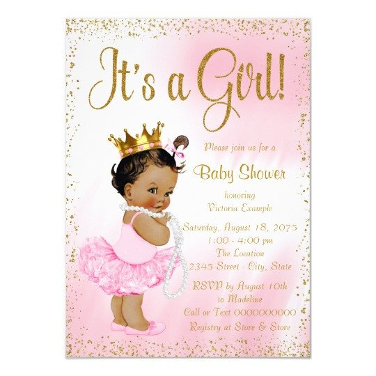 Princess Baby Shower Invitations Templates Pink Gold African American Princess Baby Shower Invitation