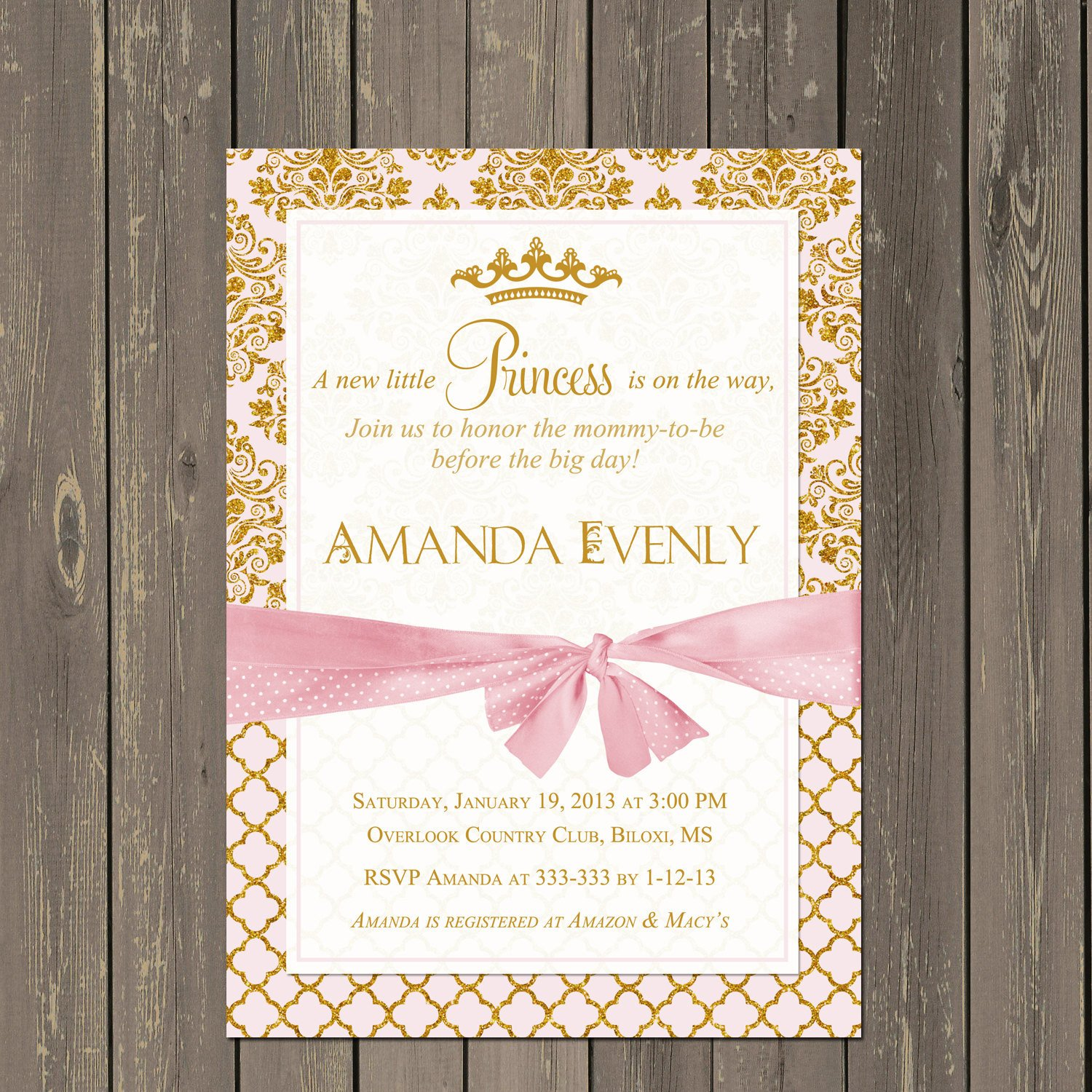 Princess Baby Shower Invitations Templates Princess Baby Shower Invitation Pink and Gold Princess Shower