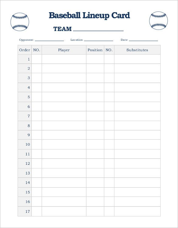 Printable Baseball Lineup Cards 9 Baseball Line Up Card Templates Doc Pdf Psd Eps