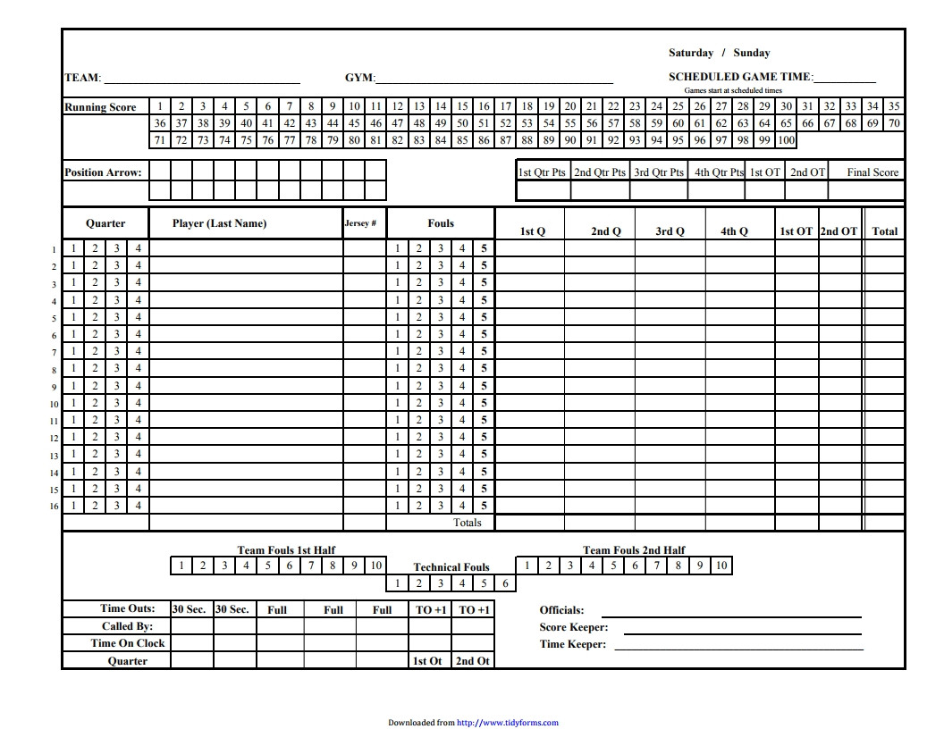 Printable Basketball Score Sheet Basketball Score Sheet Free Download Create Edit Fill