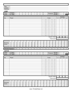 Printable Basketball Score Sheet Printable Basketball Score Sheet