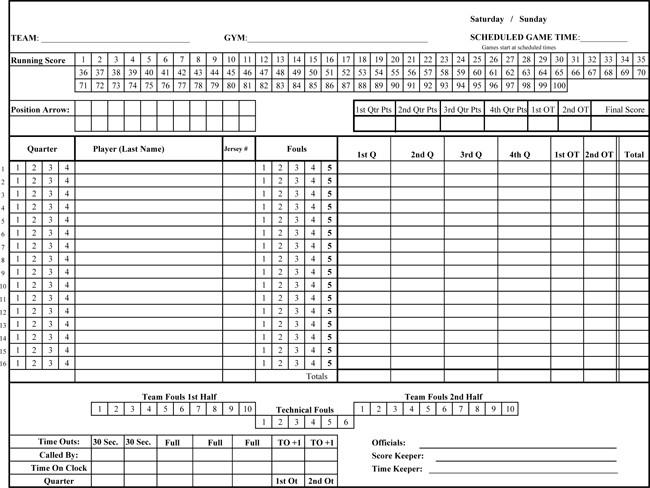 Printable Basketball Score Sheet Printable Basketball Score Sheets Download In Pdf