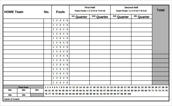 Printable Basketball Score Sheet Sample Basketball Score Sheet 9 Documents In Pdf Word