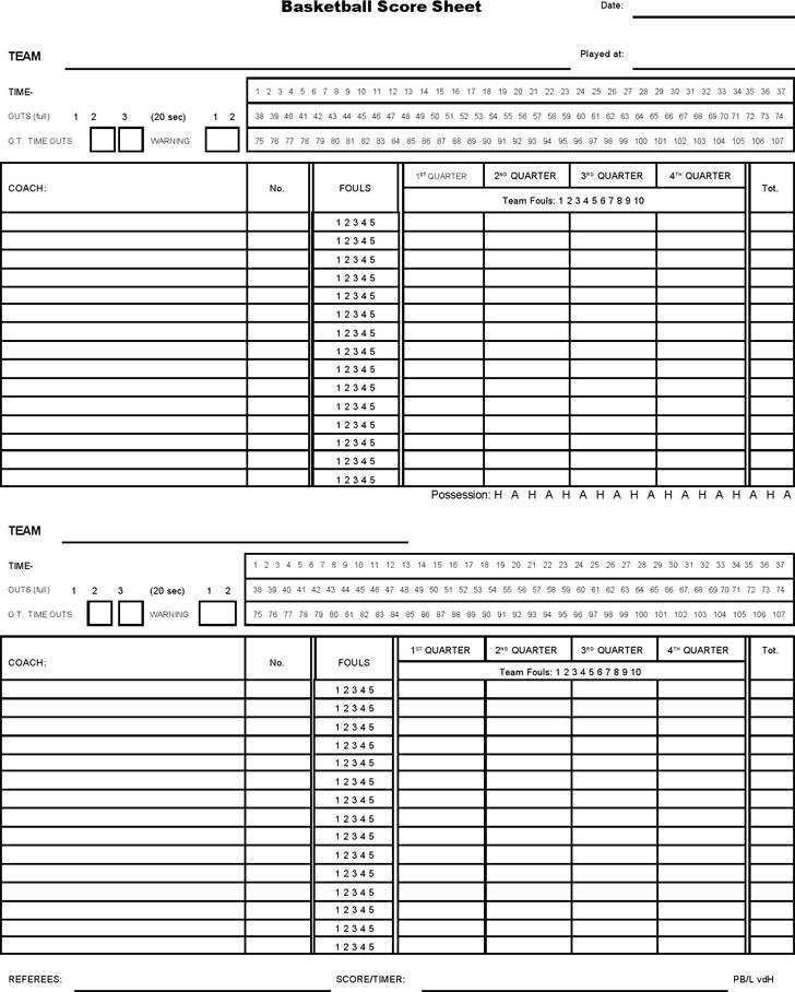 Printable Basketball Stat Sheet 5 Basketball Score Sheet Templates Word Excel Templates