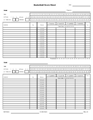 Printable Basketball Stat Sheet Basketball Score Sheet 2018