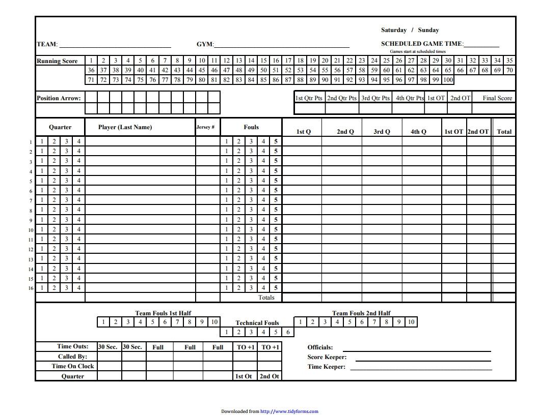 Printable Basketball Stat Sheet Basketball Score Sheet Free Download Create Edit Fill