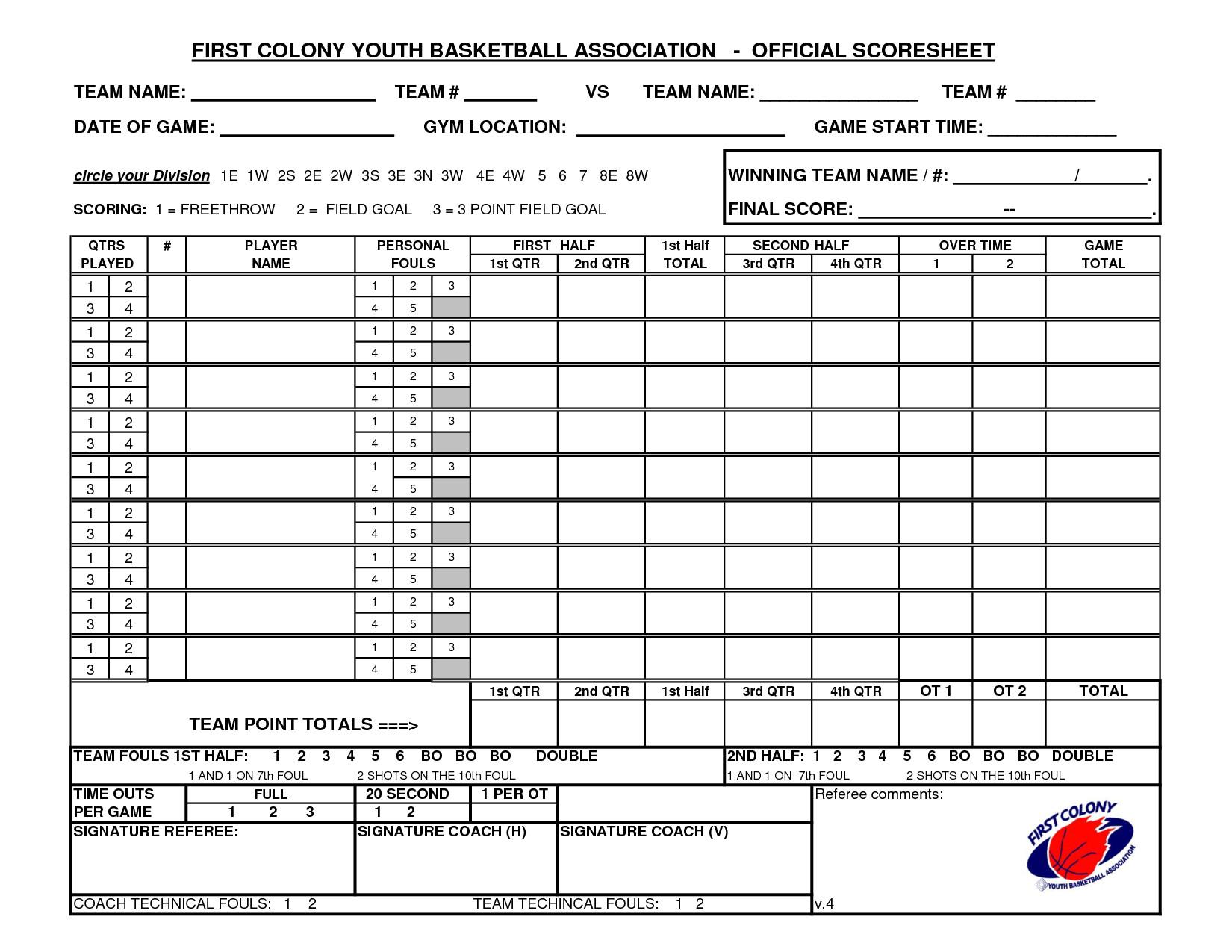Printable Basketball Stat Sheet Youth Basketball Score Sheet Pdf