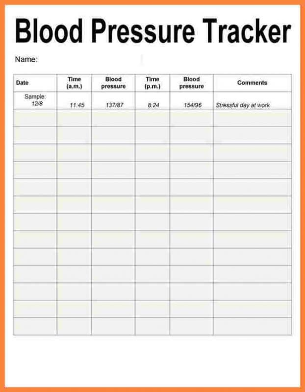 Printable Blood Pressure Chart Blood Pressure Recording Charts Template