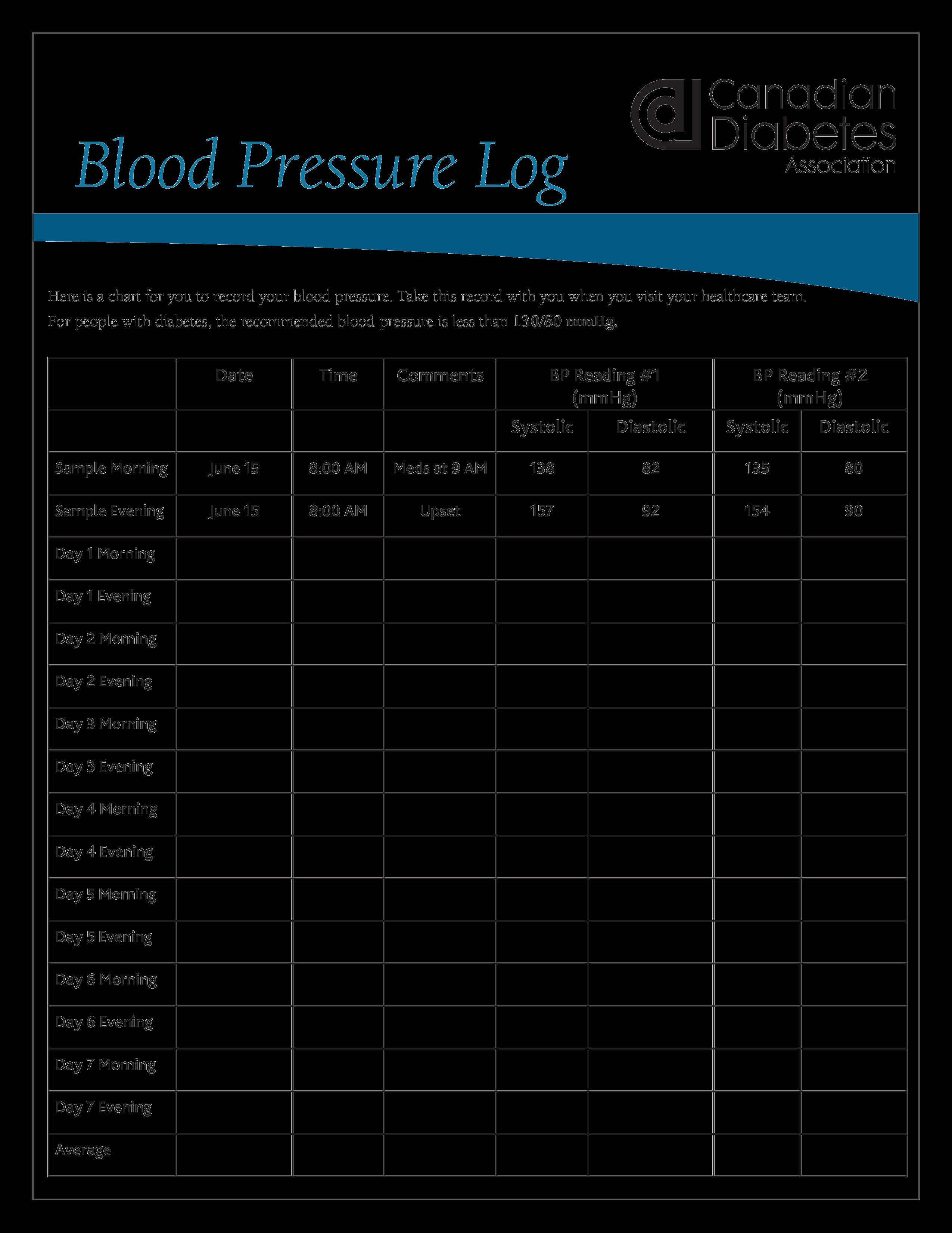Printable Blood Pressure Log Printable Blood Pressure Log