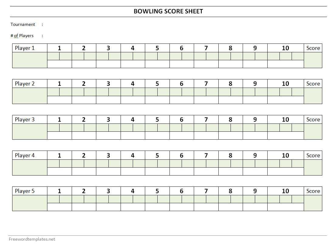 Printable Bowling Score Sheet Bowling Score Sheet