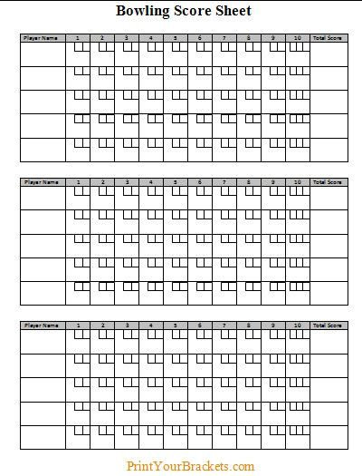 Printable Bowling Score Sheet Bowling Score Sheet …