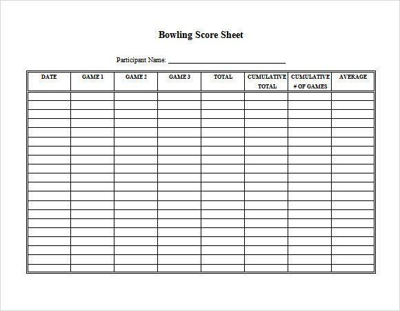 Printable Bowling Score Sheet Sample Bowling Score Sheet 10 Documents In Pdf Psd