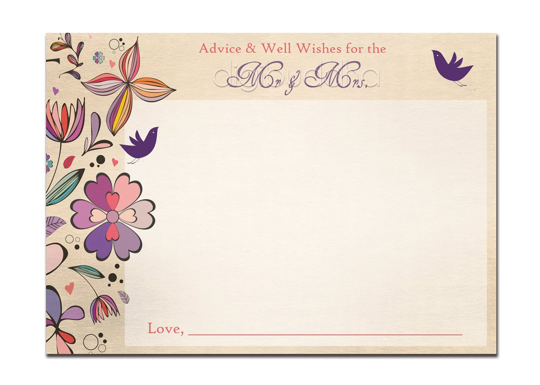Printable Bridal Shower Card Advice Card Bridal Shower Well Wishes Card 5x7 4x6 3 5x5 Diy