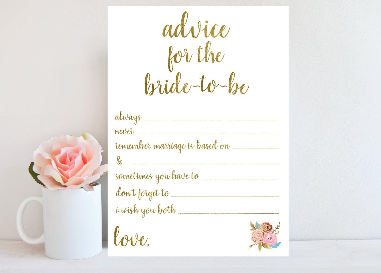 Printable Bridal Shower Card Advice for Bride to Be Bridal Shower Advice Cards Printable