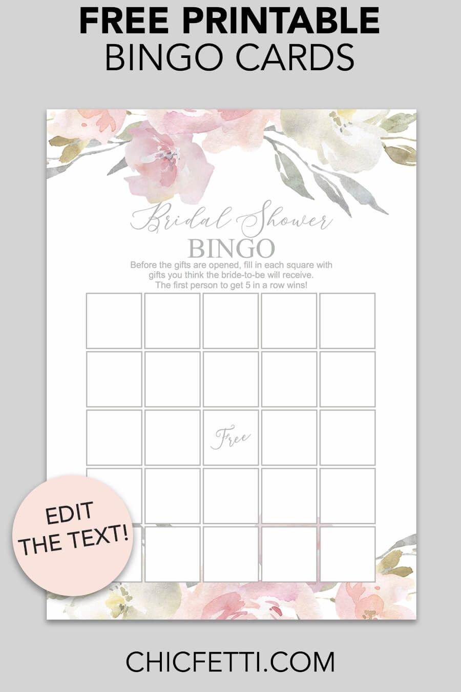 Printable Bridal Shower Card Blush Floral Printable Bridal Shower Bingo