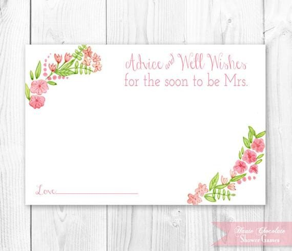 Printable Bridal Shower Card Items Similar to Vintage Floral Bridal Advice Card Floral