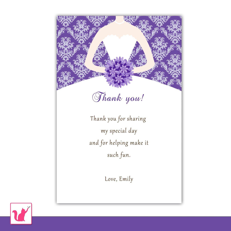 Printable Bridal Shower Card Printable Personalized Purple Damask Bridal Shower Thank
