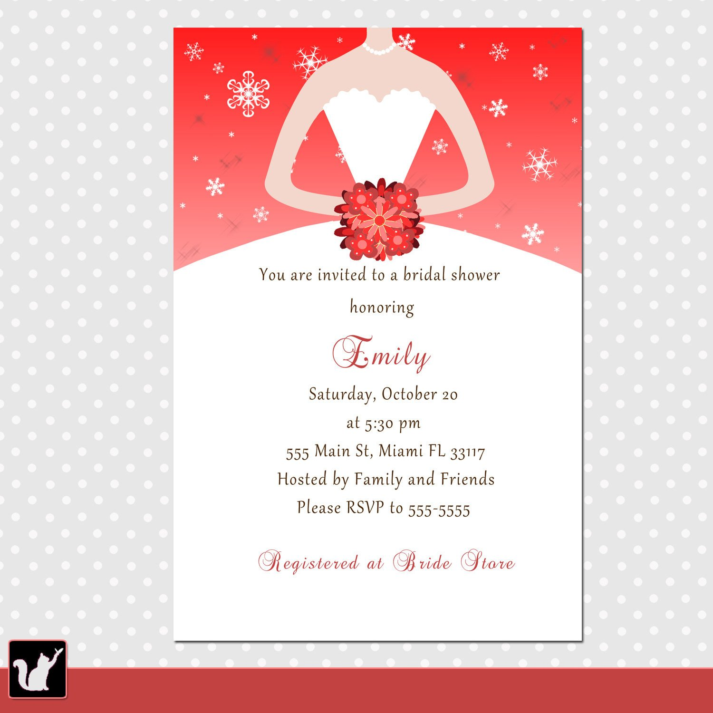 Printable Bridal Shower Card Printable Personalized Winter Bridal Shower Invitation Card