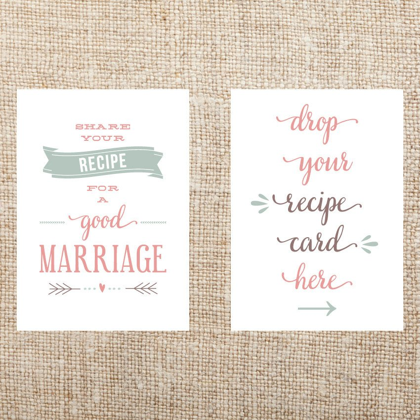 Printable Bridal Shower Card Printable Recipe Card Signs for Bridal Shower by Hollisita