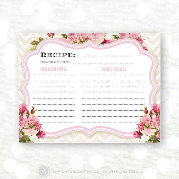 Printable Bridal Shower Card Recipe Cards Printable Bridal Shower Pink Flowers & Chevron