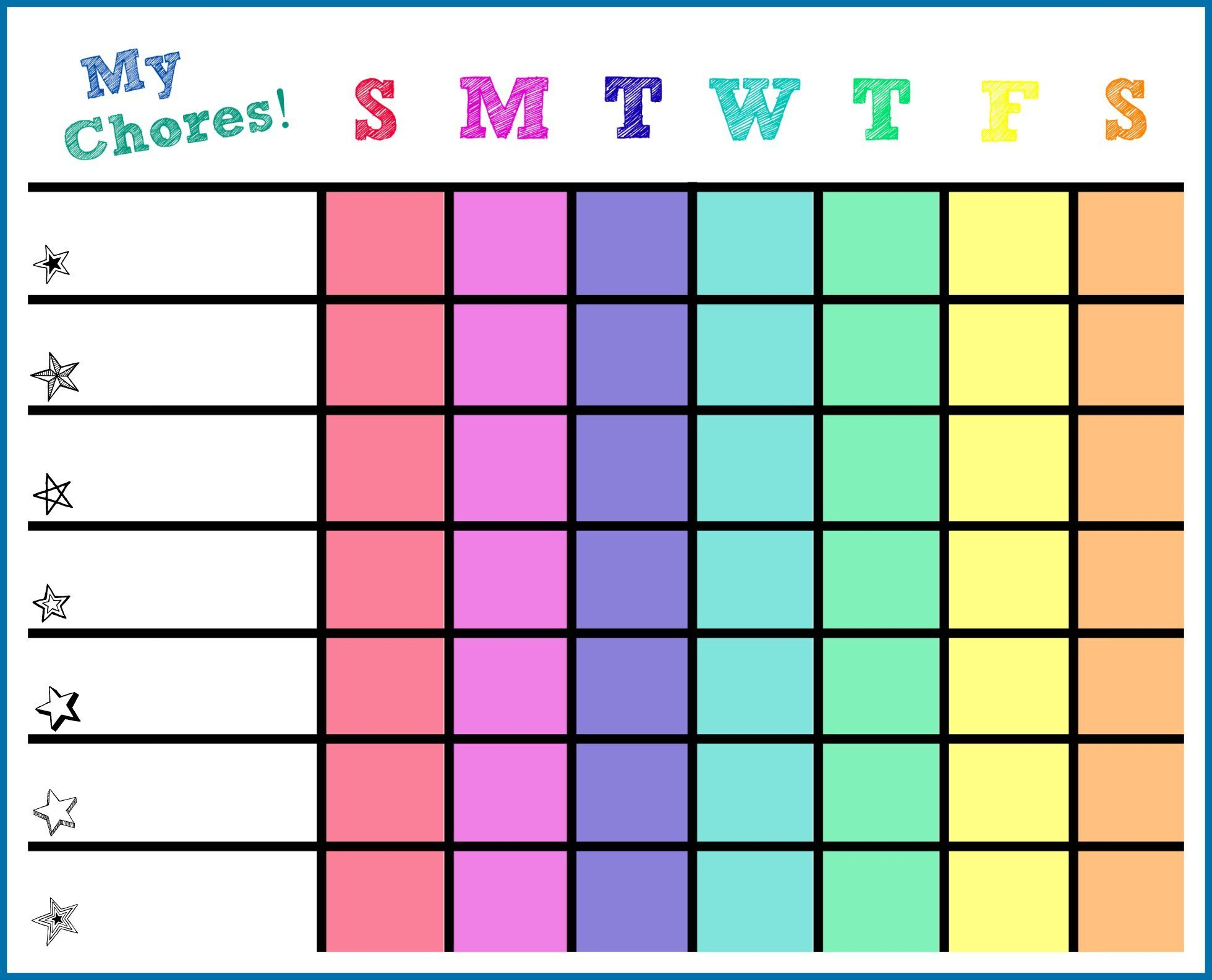 Printable Chore Chart Template 5 Free Chore Chart Templates Word Excel Pdf formats