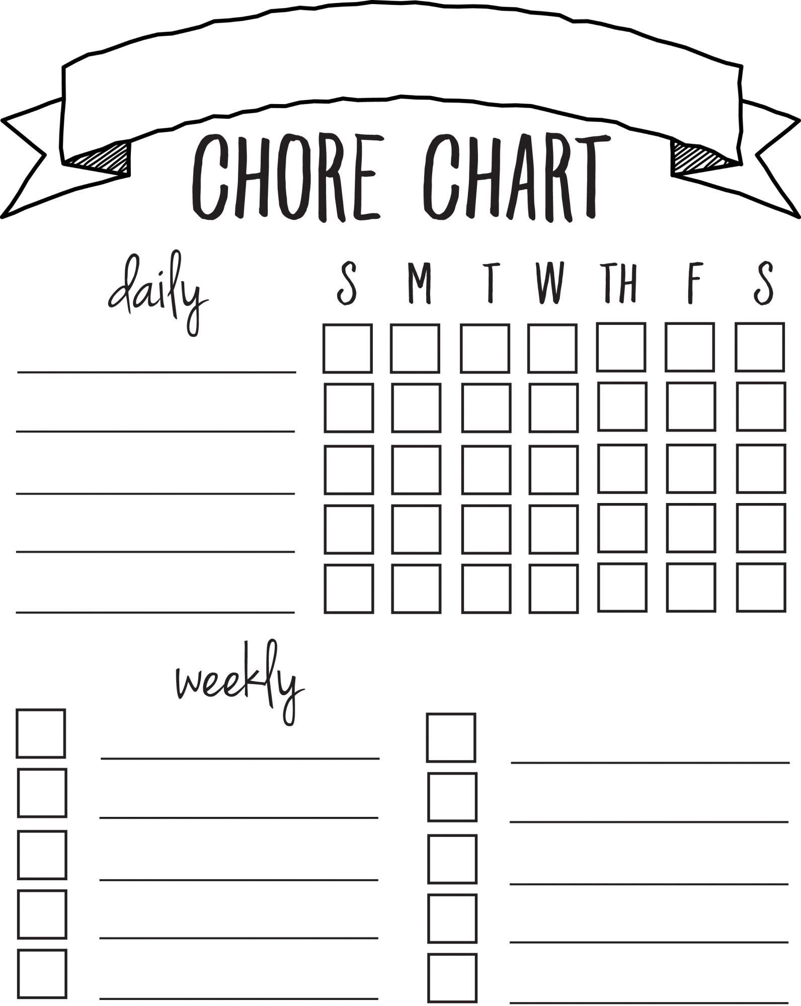 Printable Chore Chart Template Diy Printable Chore Chart