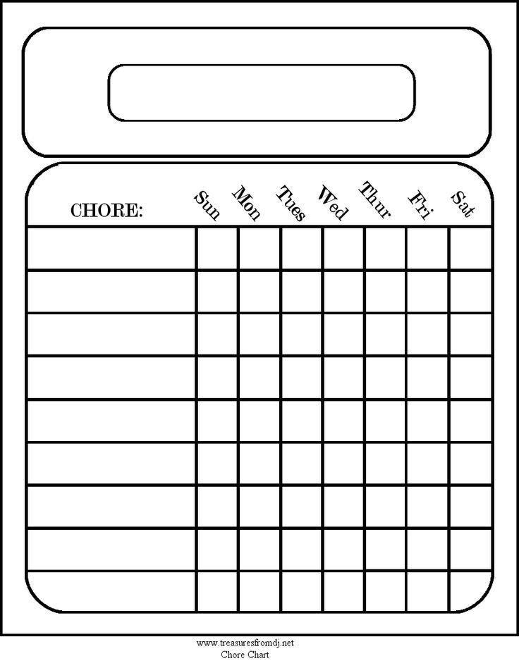 Printable Chore Chart Template Free Blank Chore Charts Templates