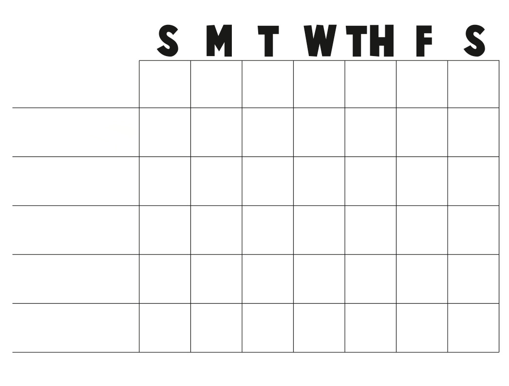 Printable Chore Chart Template Free Printable Blank Charts
