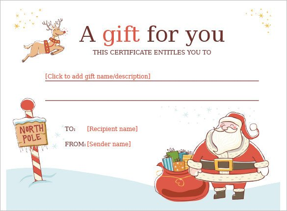 Printable Christmas Gift Certificates 20 Christmas Gift Certificate Templates Word Pdf Psd