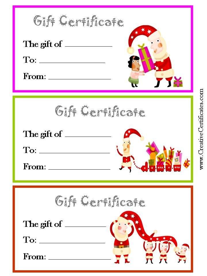 Printable Christmas Gift Certificates 3 Printable Christmas T Certificate Templates On One