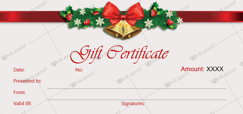 Printable Christmas Gift Certificates Christmas Gift Certificate Templates for Word Editable