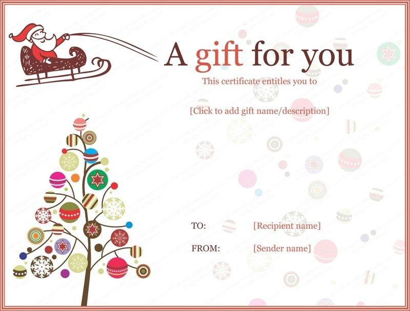 Printable Christmas Gift Certificates Christmas Gift Certificate Templates Printable