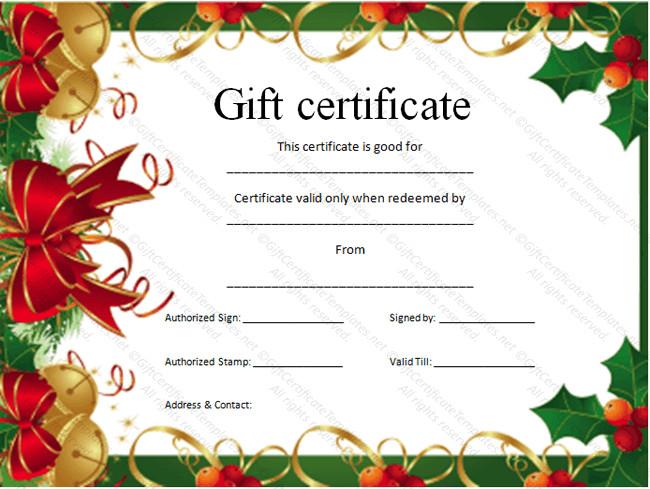 Printable Christmas Gift Certificates Christmas T Certificate Template Certificate Templates