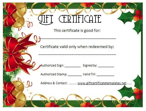 Printable Christmas Gift Certificates Christmas T Certificate Template