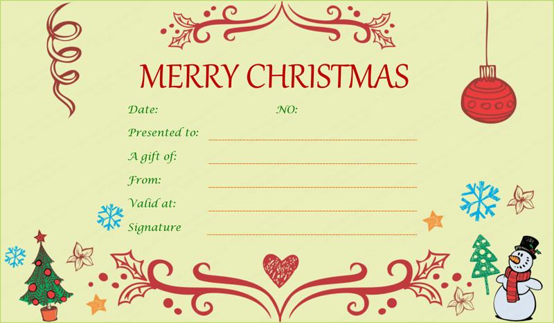 Printable Christmas Gift Certificates Festive Decorating Christmas Gift Certificate Template