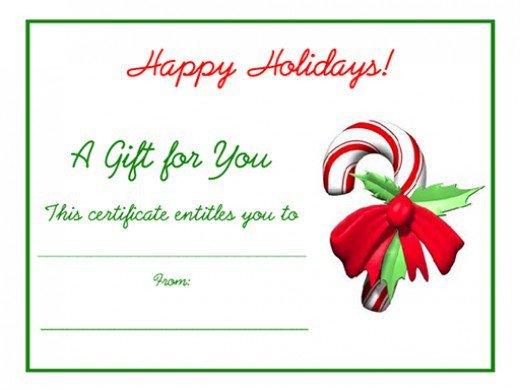 Printable Christmas Gift Certificates Free Holiday Gift Certificates Templates to Print