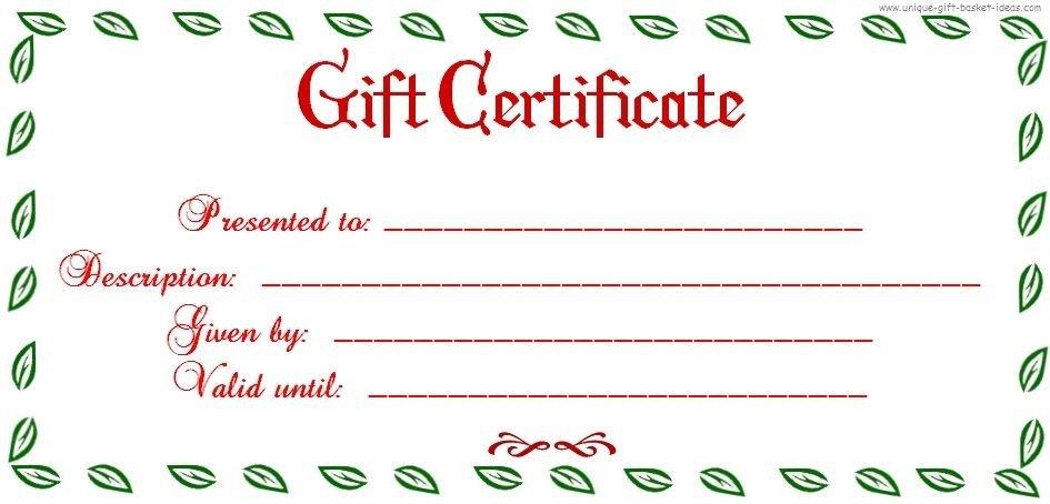 Printable Christmas Gift Certificates Free Printable Blank Gift Certificate