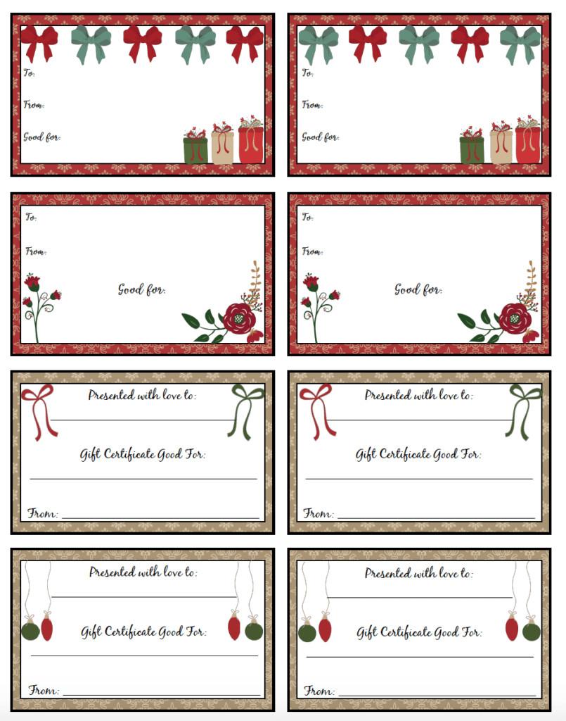 Printable Christmas Gift Certificates Free Printable Christmas Gift Certificates 7 Designs