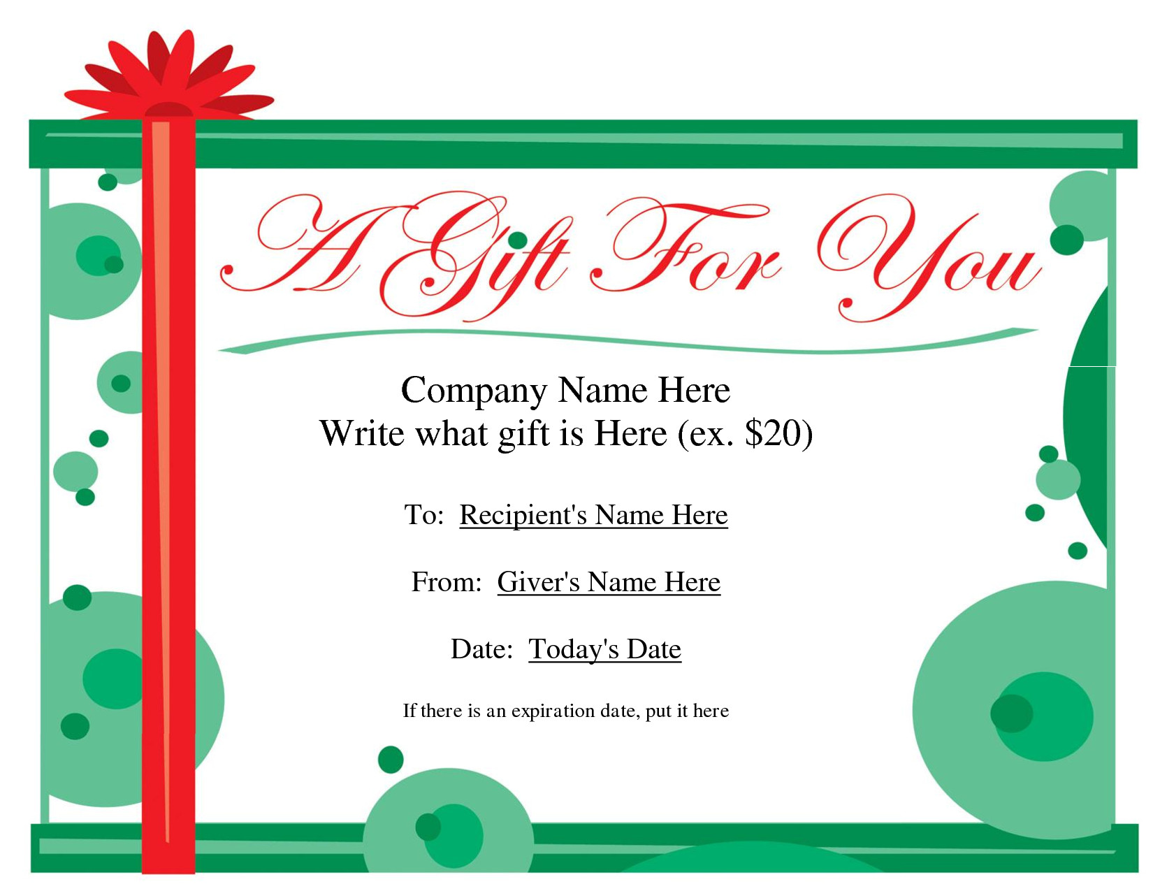 Printable Christmas Gift Certificates Free Printable Gift Certificate Template